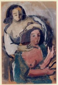 Overhoff , Eduard KS 7 1905 Lippstadt - 1945 Berlin Frauen Grafik Berlin, 1932 44x30 62x46 sitzende und stehende Frau bei der Morgentoilette, Figur