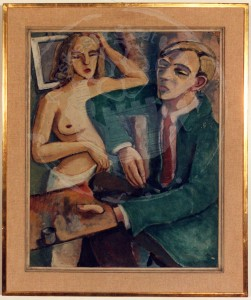 Overhoff , Eduard KS 9 1905 Lippstadt - 1945 Berlin Maler und Modell Malerei Berlin. um 1928 58x47 71x59 Selbstbildnis mit Palette und Pinsel