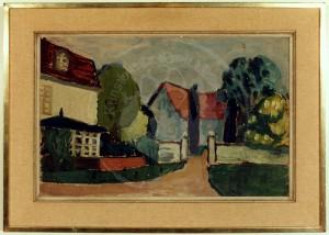 Overhoff , Eduard KS 11 1905 Lippstadt - 1945 Berlin Gehöft mit Bäumen Malerei Berlin, um 1930 33x49,7 44,5x62 Gehöft mit Bäumen