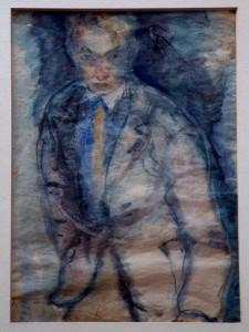 Overhoff , Eduard KS 15 1905 Lippstadt - 1945 Berlin Selbstbildnis Grafik 33,5x21,5 53x43 Selbstbildnis als frontales Dreiviertelportrait, Figur