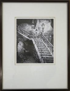 KS 586 Diether Pelz 2.5.1925, Ausbildung bie B.Lippsmeier, Lippstadt, 2005 Rathaustreppe Grafik o.J. 21,5x18 41,5x31,5 Ansicht der Rathaustreppe von Osten im Dunkeln, unter Glas gerahmt Lippstadt, Rathaus