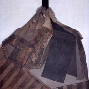 KS 308 Guido Reijerman 1948 Arnhem - Uden/NL Aent II Malerei 1974 80,2x80 82x81 textile Stofflichkeit simulierende collagierte Farbflächen, B