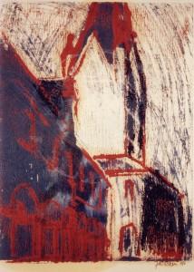 KS 335 Fritz Risken 1944, Stud Dortmund, Soest o.T. Grafik 1993 40,5x31 65x50 expressiv figurativ, Ansicht des Soester Rathauses mit st.Patrokli, Darst 40,5x31cm, Ppta 43x32cm Soest