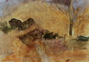 KS 243 Christoffer Sonnen 1944 Detmold - Lippstadt am Ev.Gymnasium als KeL-- ansässig in Erwite-Völlinghausen Quelle Grafik 1974 15,7x22,5 51,5x36,5 Landschaft mit Quelle, Darst.15,7x22,5cm Landschaft