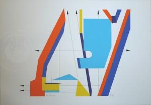 KS 536 Helfried Stange 1946 Meinersdorf, Lippstadt, Stud.FH Münster, Graf.i. Hamburg, Lippstadt 10 Offsetdrucke in Mappe Grafik um 1990 35,1x50 50x75 A, aus computergestützten technischen Zeichnungen konstruierte konstruktiv-flächige, farbig stark i.S.d. hardedge kontrastierte Kompositionen mit pfeilartigen Graphismen A