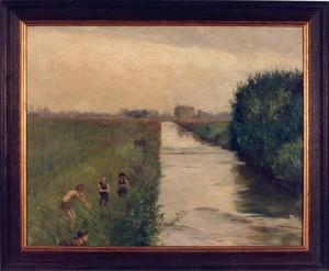 KS 62 Marie Steinbecker 1879 Lippstadt- 1968 Badende Knaben Malerei Lippstadt um 1905-1910 41x51 48,5x58 Badende Knaben am Boker Kanal bei Lippstadt, Lippstadt, Boker Kanal