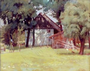 KS 64 Marie Steinbecker 1879 Lippstadt- 1968 Gehöft unter Bäumen Grafik Lippstadt um 1910-15 40x51 56x66 Gehöft unter Bäumen, Lippstadt
