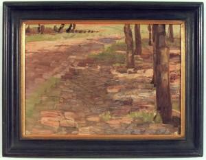 KS 86 Marie Steinbecker 1879 Lippstadt- 1968 Waldweg Malerei Lippstadt, um 1910-14 30,5x42,2 40x53 Waldweg, Restaurierung durch H.Weyrauch für 110DM Lippstadt