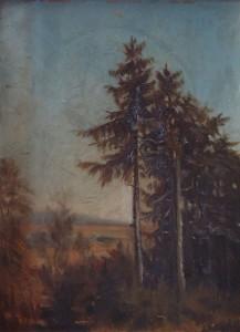 KS 469 Marie Steinbecker 1879 Lippstadt- Stud. Berlin, München, 1968 Personengruppe unter Tannen Malerei um 1903 x 52x42
