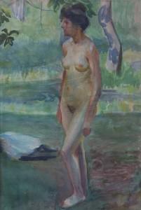 KS 477 Marie Steinbecker 1879 Lippstadt- Stud. Berlin, München, 1968 Weiblicher Akt im Freien Grafik 1908 x 47x32 weibl. Akt im Freien, Gardasee, Figur