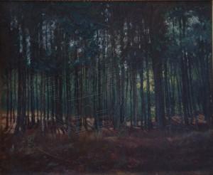 KS 478 Marie Steinbecker 1879 Lippstadt- Stud. Berlin, München, 1968 Tannenwald Malerei n.dat x 41,5x50 Tannenstück, Landschaft
