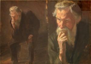 KS 491 Marie Steinbecker 1879 Lippstadt- Stud. Berlin, München, 1968 Sitzender Mann (zwei Darstellungen) Malerei n.d. 0x0 50x72 Alter Mann sitzend, Figur
