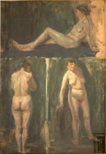 KS 492 Marie Steinbecker 1879 Lippstadt- Stud. Berlin, München, 1968 Aktstudien (drei Darstellungen) Malerei n.d. 0x0 71,5x50 drei weibliche Akte, Figur