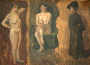 KS 493 Marie Steinbecker 1879 Lippstadt- Stud. Berlin, München, 1968 Aktstudien (drei Darstellungen) Malerei n.d. 0x0 50x72 drei weibliche Akte, Figur