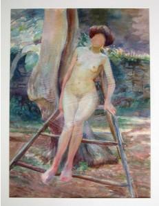 KS 514 Marie Steinbecker 1879 Lippstadt- Stud. Berlin, München, 1968 Sitzender weiblicher Akt vor einer Mauer Grafik 1908 62x45,5 87x70,5 weiblicher Akt, ppa Figur