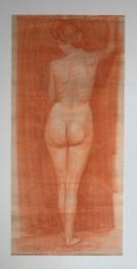 KS 515 Marie Steinbecker 1879 Lippstadt- Stud. Berlin, München, 1968 Stehender weiblicher Akt Grafik 1908 79x37 104x61,5 weiblicher Akt, ppa Figur