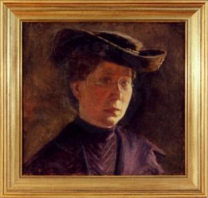 KS 65 Marie Steinbecker 1879 Lippstadt- 1968 Selbstbildnis Malerei Lippstadt um 1910-15 38x49 47x49 Selbstbildnis als Dreiviertelbrustbild der Künstlerin mit Brille und Hut, Figur