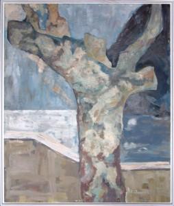 KS 509 Heinrich Trost 15.1.1930 Bockum Hövel - Lippstadt , x.3.2004 ohne Titel Malerei 1962 122,5x103 127x107 Baum, kahler Baum in Mittelauschnitt Landschaft