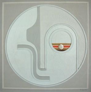 KS 93 Heinrich Trost 15.1.1930 Bockum Hövel - Lippstadt , x.3.2004 o.T. Relief Lippstadt 1986 60x60 62,5x62,5 Konstruktivistische Komposition, Abstraktion
