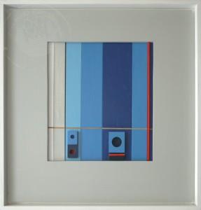 KS 561 Heinrich Trost 15.1.1930 Bockum Hövel - Lippstadt , x.3.2004 Sehspiele I Relief o.J. 0x0 65x65 Konstruktivistische Komposition, farbig gefasstes Relief Abstraktion