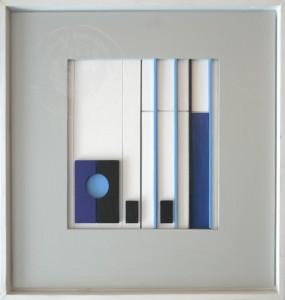 KS 563 Heinrich Trost 15.1.1930 Bockum Hövel - Lippstadt , x.3.2004 Sehstand I Relief o.J. 0x0 65x65 Konstruktivistische Komposition, farbig gefasstes Relief Abstraktion