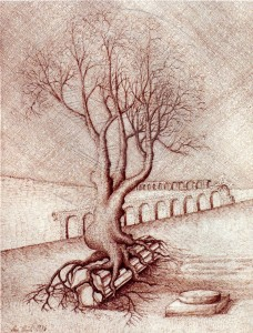 KS 122 Uwe Ulrich 22.1.1954 Hattingen-Italien, Essen - Lippstadt - Varese/Ital. Baum mit Aquäduktruinen Grafik 1986 50x40 71,5x51,5 Baum mit Aquäduktruinen, Landschaft