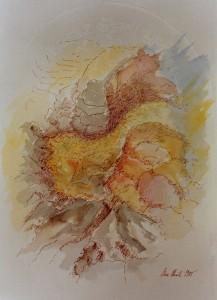 KS 278 Uwe Ulrich 22.1.1954 Hattingen/Ruhr - Italien - Essen - Kunstakademie Düsseldorf (Rissa) - Lippstadt o.T.Impression lt.Angabe des Künstlers Grafik 1985 32x24 51,5x36,5 Abstraktion, Darst. 32x24cm
