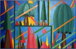 KS 358 Uwe Ulrich 1954 Hattingen, Rom, Essen, StudAkad Düsseldorf, Lippstadt, Varese/Italien I like colours Malerei 1994 90x140 90x140 konstruktiver Bildraum mit stilisiertem Baum- und Pyramiden-Formen, Landschaft