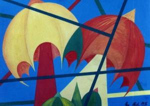 KS 409 Uwe Ulrich 22.1.1954 Hattingen/Ruhr - Lippstadt - Varese/It. Freundschaft Grafik 1996 x 21x29,5 regenschirmartige Bäume in abstrakter Streifenkompostion, Landschaft