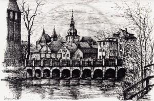 Weyrauch , Helmut KS 310 1913 Dresden - Lippstadt Altes Wehr Grafik 1980 37,5x47,8 40x50 Altes Wehr an der Wilhelmschule, Darst.24,5x35,5cm Lippstadt, Lippe