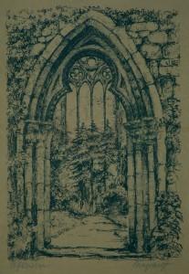 Weyrauch , Helmut KS 314 1913 Dresden - Lippstadt Stiftskirchenruine Grafik n.dat. 37,3x27,2 40,1x29,8 Innensicht der Stiftskirchenruine, Darst. 26x19cm Lippstadt