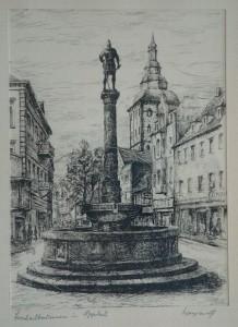 Weyrauch , Helmut KS 340 1913 Dresden Stud, Lippstadt Bernhardbrunnen Grafik n.dat. 25,9x20 38,3x31,3 Lippstadts Bernhardbrunnen, DarstPpta 25,9x20cm Lippstadt