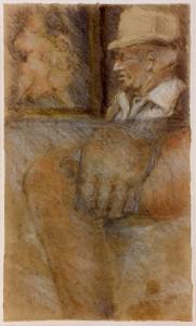 Windhaus , Falko KS 254 1954 Lippstadt-Cappel - Eckernförde o.T. Grafik um 1982 38,7x23 51,5x36,5 Akte und Brustbildnis eines älteren Mannes, Darst.38,7x23cm Figur
