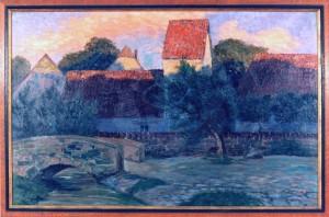 Cobet , Fritz KS 89 1885 Lippstadt - 1963 Bremen Ansicht eines Dorfes Malerei, Öl auf Leinwand 1906 58x90 71,5x102 Ansicht eines Dorfes, Gebäude, Baum, Ölgemälde, Landschaft