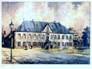 Determeyer , Carl KS 341 30.6.1897 Carlshafen, 2.5.1976 Münster Alt Lippstadt, Das Rathaus Grafik, Gouache n.dat. 46x68 72,5x92,5 Rathaus Lippstadt, Ppta 46x68cm Lippstadt
