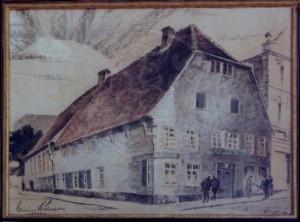 """Mühlfeld , Hanns KS 432 *12.8.1889 in Lippstadt - 3.8.1985 gestorben in Bad Waldliesborn Holländischer Hof Grafik, kolorierte Zeichnung 1926 x 87x106 holländischer Hof von Westen, """"Holländischer Hof"""", kolorierte Zeichnung, Lippstadt, 1926,vergl. PK-Nr.248 Umbau durch H. Mühlfeld 1926 zum Geschäftshaus, heute: Textilgeschäft Ecke Kahlenstr./Langestr Lippstadt, Gebäude"""