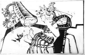 Kirchner , Barbara KS 141 1938 Braunschweig - Lippstadt - München o.T. Grafik, Siebdruck auf Silberfolie 1970 50x70 51x71 Darst.38x58cm, Figur, Interieur, neosurreal, neofigurativ
