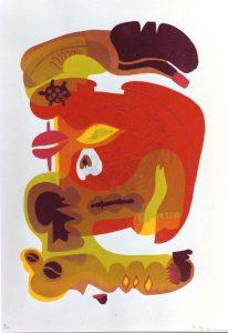 Moog , Pitt KS 230 1932 Kempfenbrunn - Dortmund - Brilon o.T. Grafik, Farbseriegraphie 1971 78x60,6   81,5x61,5 pop-artige geschichtete ornamentale Farbflächen, Darst.60x40cm A
