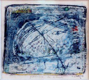 "Ogaki , Teizo KS 23 1944 Kyoto/Japan ""portrait de l'hiver"" Grafik, Mischtechnik 17,5x20,2 51x39 Figur, Bildnis, neosurreal, neofigurativ, Zeichnung, Gouache, Aquarell"